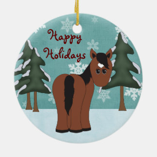 Personalised Happy Holidays Horse Ornament