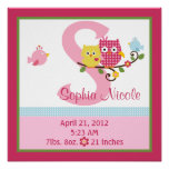 Personalised Happy Tree/Owls Birth Info Poster