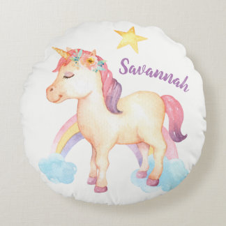 Personalised Happy Unicorn Pillow with Flowers