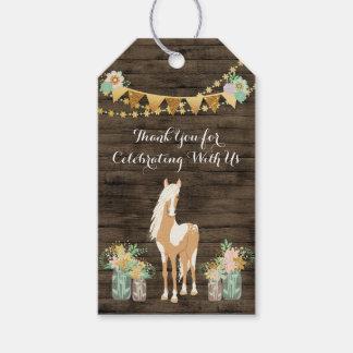 Personalised Horse, Flowers Rustic Wood Birthday Gift Tags