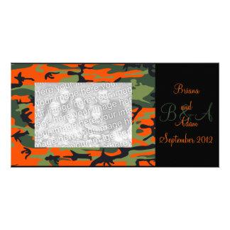 Personalised Hunter Orange Camo Frame Photocard Card