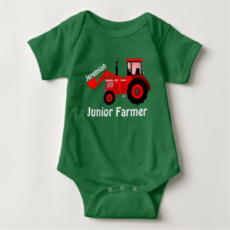 "Personalised ""Junior Farmer"" and Red Tractor Baby Bodysuit"