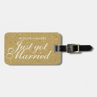 Personalised Just Got Married Gold Dust Confetti Bag Tag