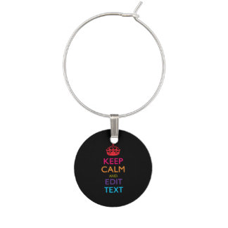 Personalised KEEP CALM Your Text Multicolored Wine Charm