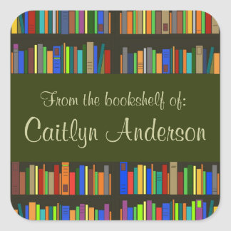 Personalised Library Bookshelves Bookplate Sticker
