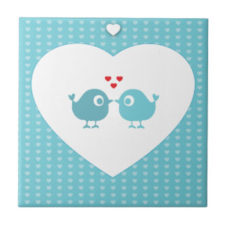 Personalised Love Birds Small Square Tile