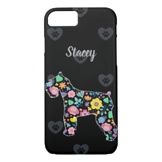 Personalised Love My Schnauzer floral design iPhone 8/7 Case