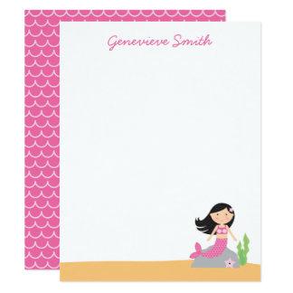Personalised Mermaid Stationery | Black Hair-Pink Card