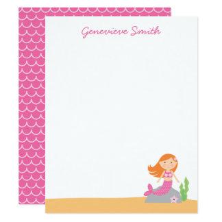 Personalised Mermaid Stationery | Red Hair | Pink Card
