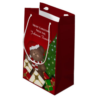 Personalised Merry Christmas Bear Gift Bag