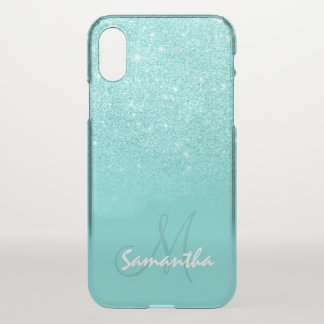 Personalised modern faux glitter ombre teal block iPhone x case