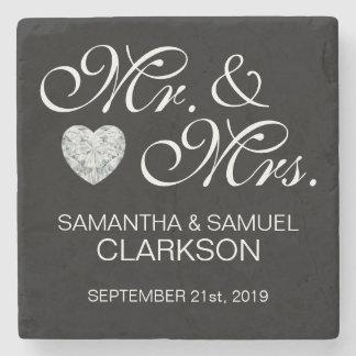 Personalised MR. & MRS. White Black Wedding Stone Coaster
