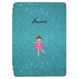 Personalised name ballerina turquoise glitter iPad air cover