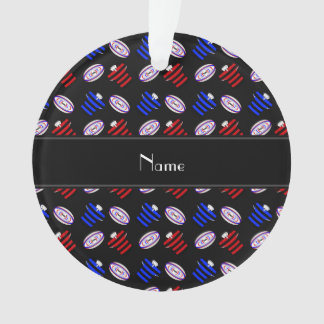 Personalised name black jerseys rugby balls ornament