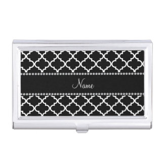 Personalised name Black moroccan pattern Business Card Holder