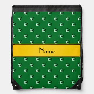 Personalised name green soccer yellow stripe drawstring bag