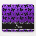 Personalised name indigo purple glitter butterfly mouse pad