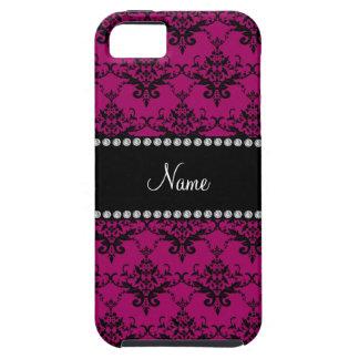 Personalised name Magenta pink black damask iPhone 5 Cases