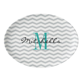 Personalised name monogram coupe serving platter