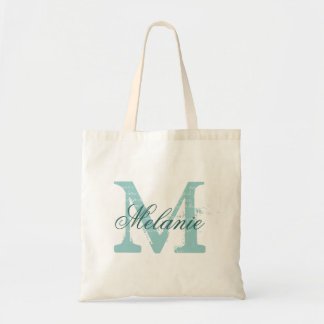 Personalised name monogram tote bag | Turquoise