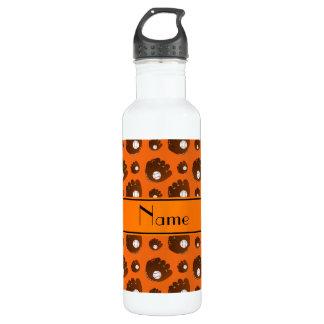 Personalised name orange baseball gloves balls 710 ml water bottle