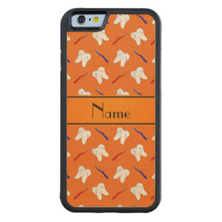 Personalised name orange brushes and tooth pattern carved maple iPhone 6 bumper case