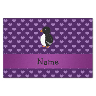 Personalised name penguin purple hearts tissue paper