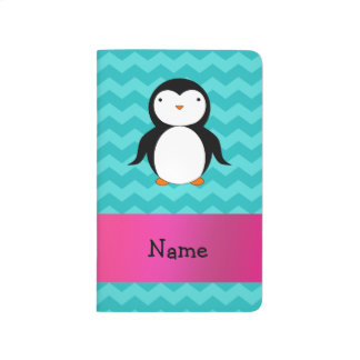 Personalised name penguin turquoise chevrons journal