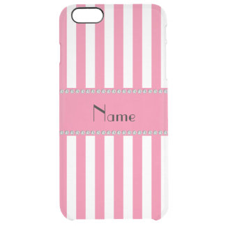 Personalised name pink and white stripes clear iPhone 6 plus case