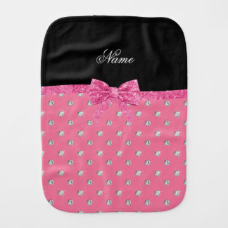 Personalised name pink diamonds pink bow baby burp cloth