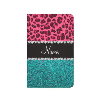 Personalised name pink leopard turquoise glitter journal