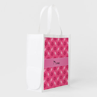 Personalised name pink surfboard pattern reusable grocery bag