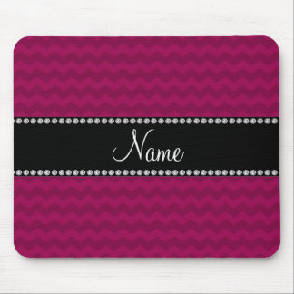 Personalised name plum purple chevrons mouse pad