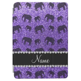 Personalised name purple glitter elephants iPad air cover