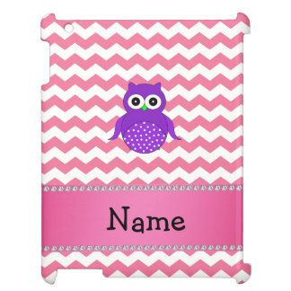 Personalised name purple owl pink chevrons iPad cover