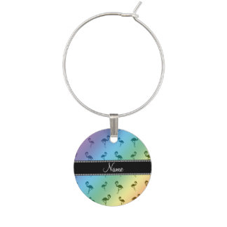 Personalised name rainbow flamingos wine charm
