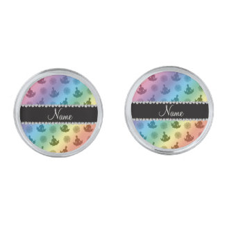 Personalised name rainbow yoga pattern silver finish cuff links
