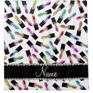 Personalised name white rainbow lipstick shower curtain