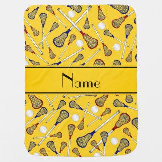 Personalised name yellow lacrosse pattern baby blanket