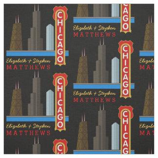 Personalised Names Chicago Illinois Skyline Fabric