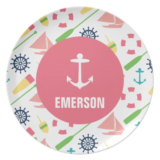 Personalised Nautical Kids Anchor Melamine Girl Party Plates