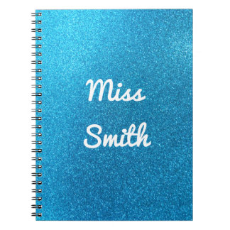 Personalised Notebook Any Name Blue Glitter