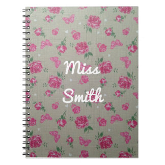 Personalised Notebook Any Name Flowers Butterflies