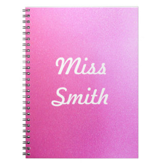 Personalised Notebook Any Name Pink Sparkle