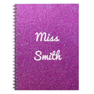 Personalised Notebook Any Name Purple Glitter