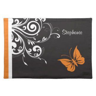 Personalised Orange Black White Butterfly Flourish Place Mats