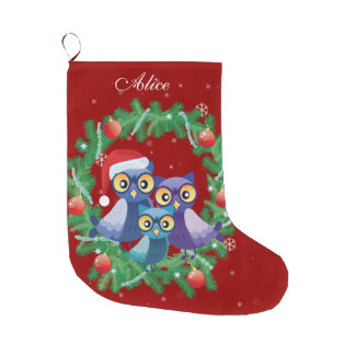 Personalised owl family wreath red large christmas stocking