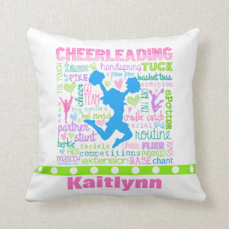 Personalised Pastel Cheerleading Words Typography Cushion