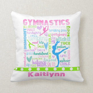Personalised Pastel Gymnastics Words Typography Cushion