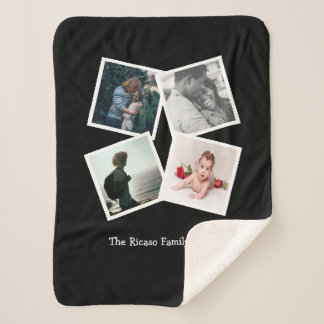 Personalised Photo Collage 4 photo Sherpa Blanket